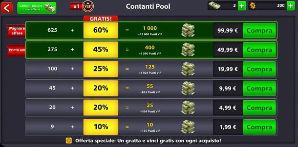 Microtransazioni 8 Ball Pool