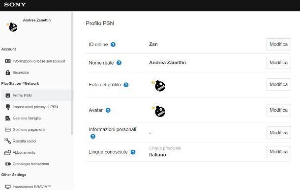 Modifica ID PSN Browser