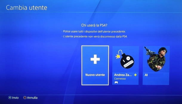Nuovo Utente Locale PS4