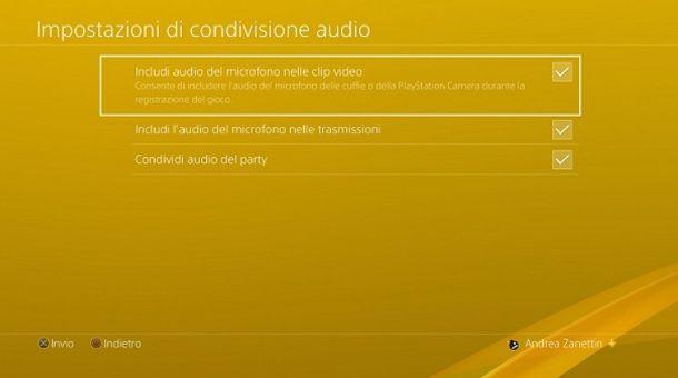 Registra Audio PS4