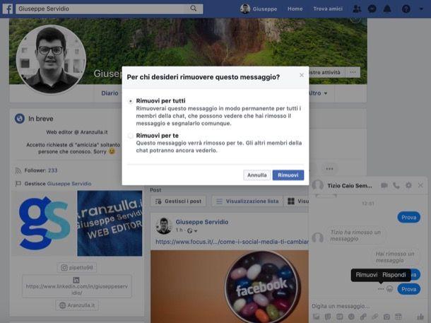 Come cancellare i messaggi su Messenger