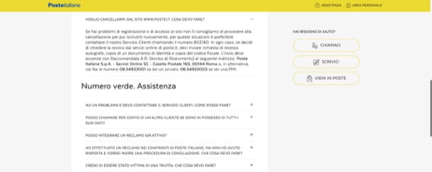 Come eliminare account Poste Italiane