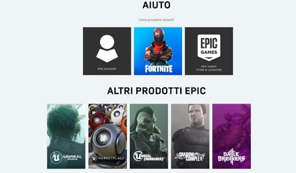 Supporto Epic Games