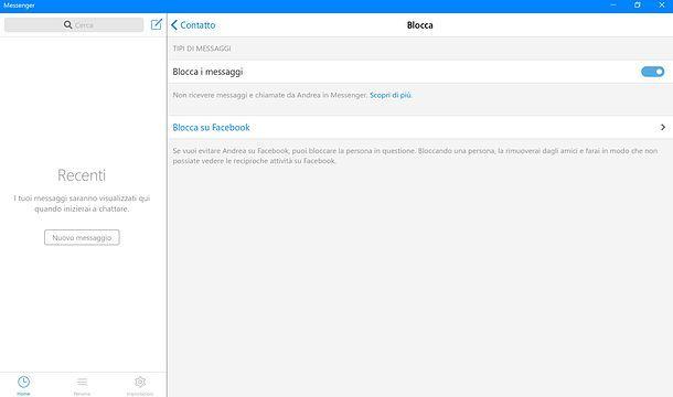 Blocca messaggi Messenger Windows 10