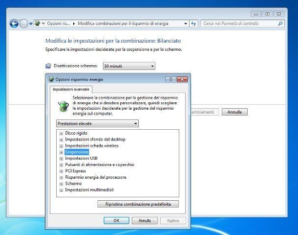 Come non far andare in standby il PC Windows 7