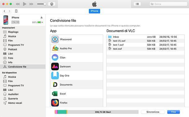Condivisione file iPhone