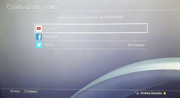 YouTube Condividi Clip PS4