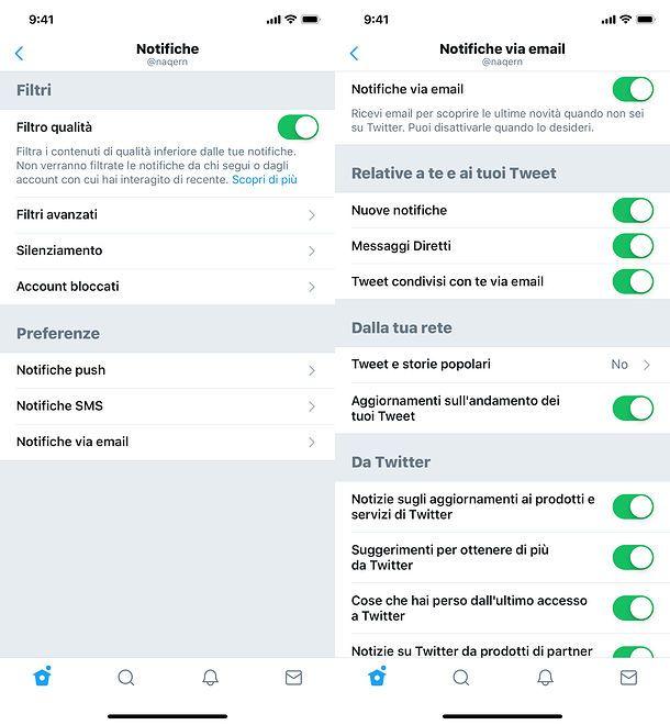 Disattivare email Twitter da smartphone