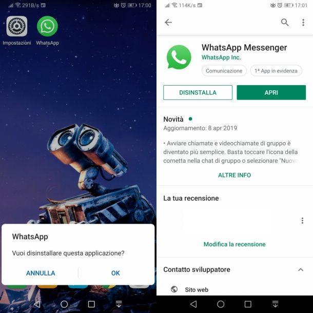 android disinstallare whatsapp