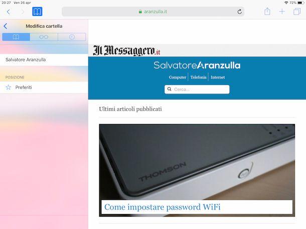 Creare una cartella con i siti preferiti usando Safari su iPad