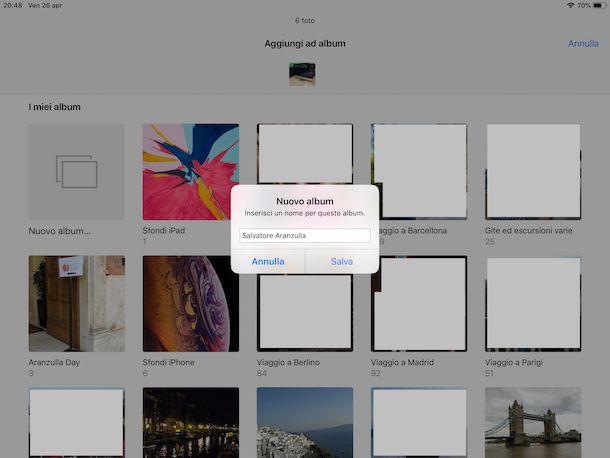 Creare un nuovo album di foto su iPad