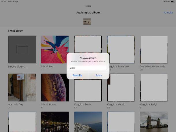 Creare un nuovo album di video su iPad