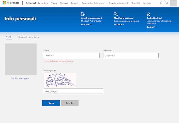 Nome utente account Microsoft