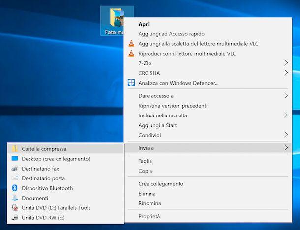 Immagine che mostra come creare un archivio ZIP da una cartella su Windows 10