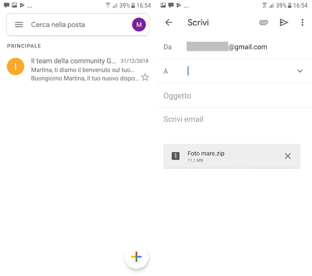 Screenshot di Gmail su Android