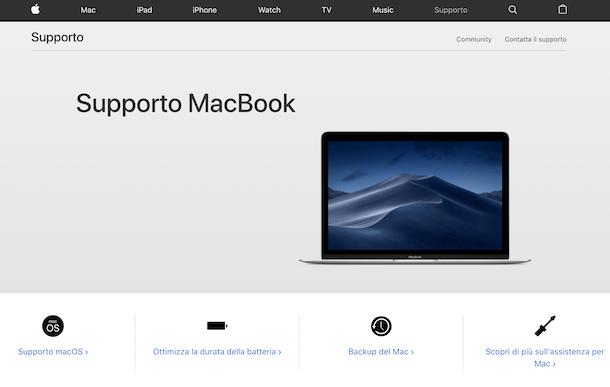 Supporto Apple MacBook