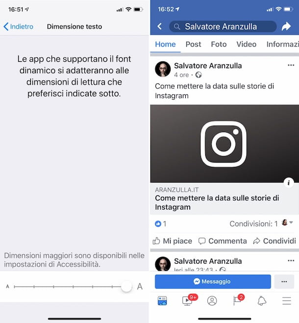 Come ingrandire i caratteri di Facebook su iOS
