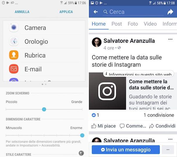 Come ingrandire i caratteri di Facebook su Android