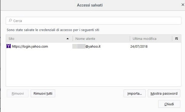 Recuperare password Yahoo email - Firefox
