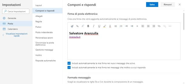 Come inserire la firma in Outlook.com