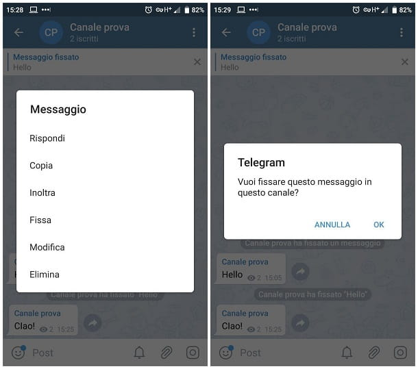 Come fissare un messaggio su Telegram per smartphone e tablet