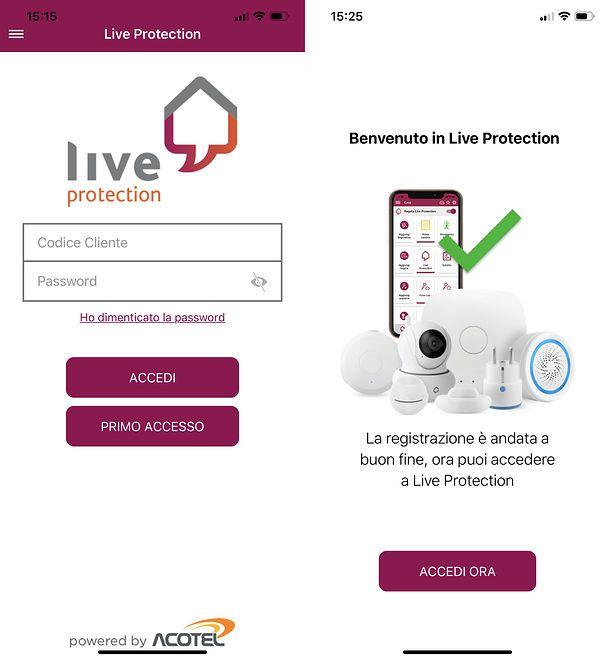Configurazione app Live Protection