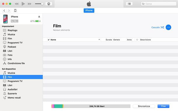 Come copiare film su iPhone