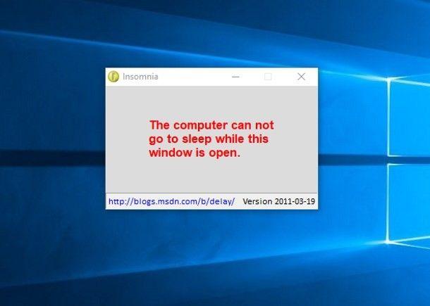 Programmi per non far andare in standby il PC - Insomnia