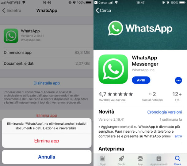 iphone disinstallare whatsapp