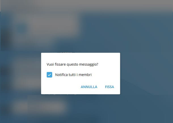 Come fissare un messaggio su Telegram per PC