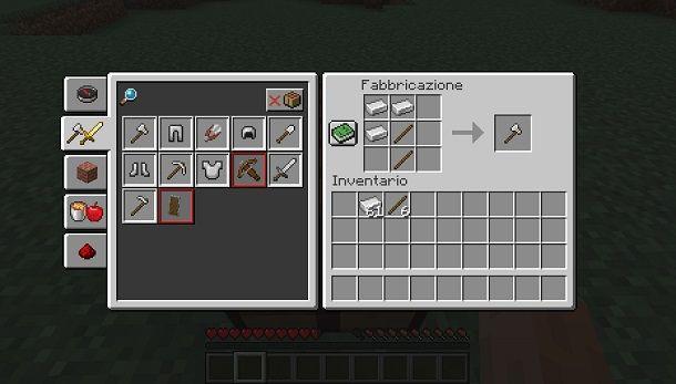 minecraft fabbricazione oggetti