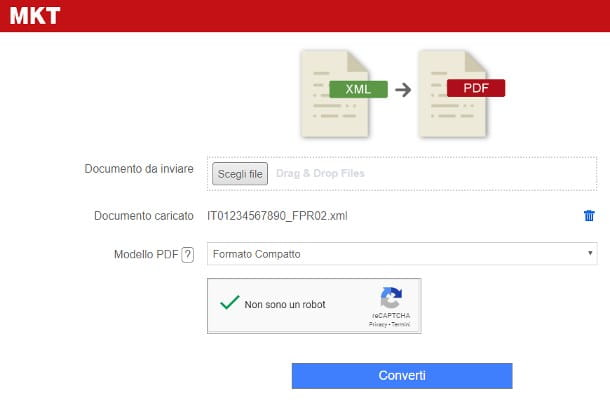 Come convertire un file XML in PDF online - MKT