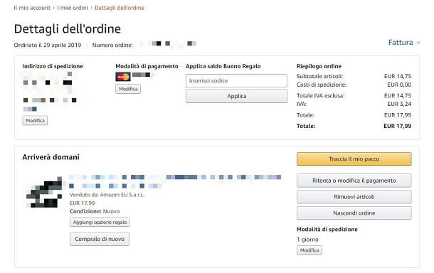 modifica ordine Amazon
