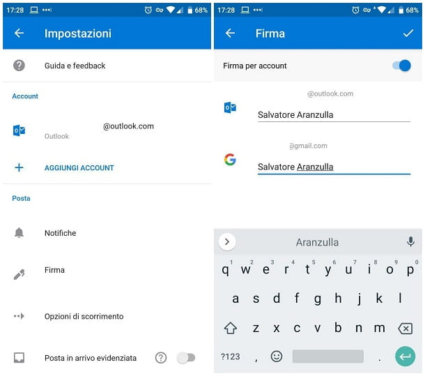 Come inserire la firma in Outlook su Android