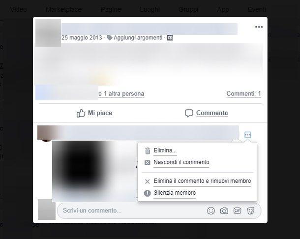 Eliminare i commenti da Facebook
