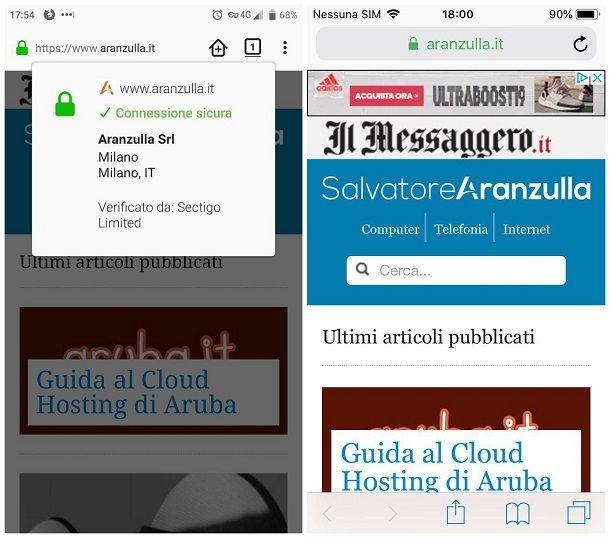 Come fai a ottenere informazioni sull'identità di un sito - smartphone e tablet