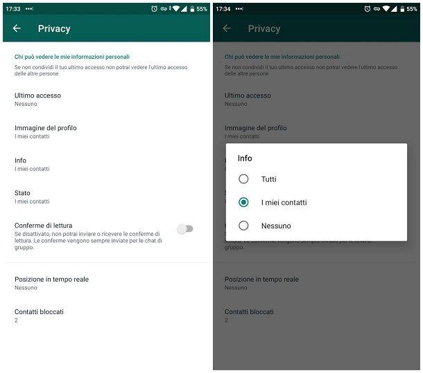 Come nascondere lo stato su WhatsApp per Android - Stato testuale