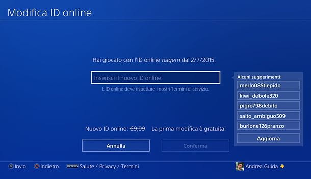 Modifica ID da PS4