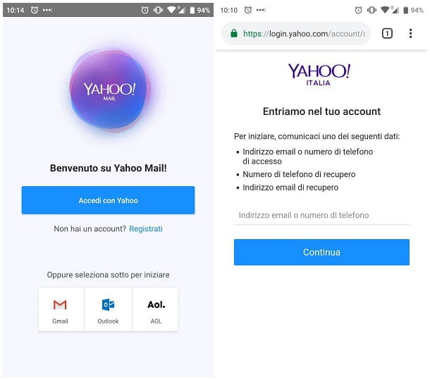Recuperare password Yahoo da smartphone e tablet