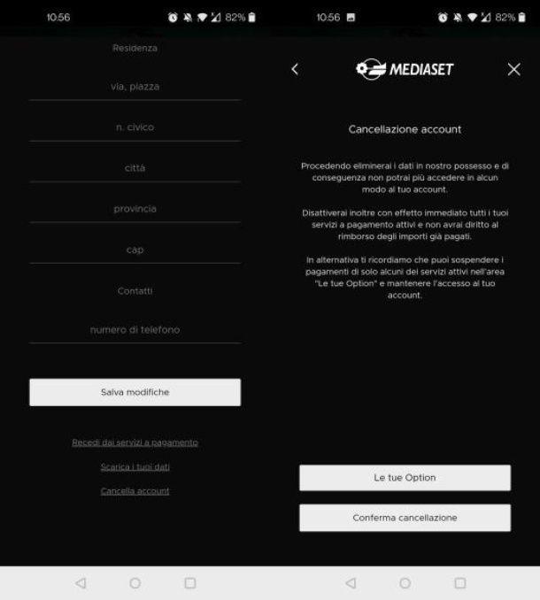 Cancellare account Mediaset Infinity smartphone