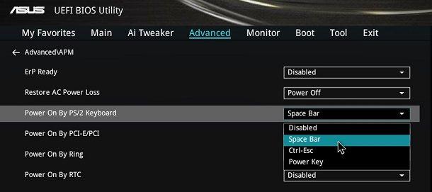 ASUS BIOS Power On By Keyboard