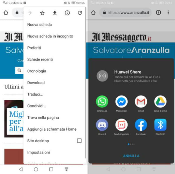 Android condivisione link