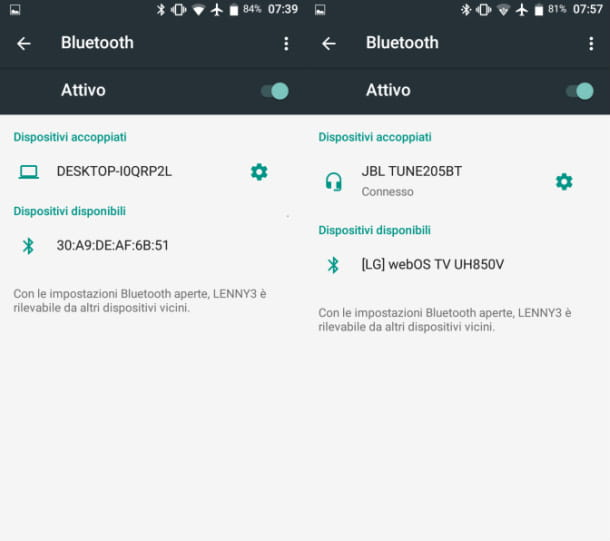 Associare Bluetooth Android