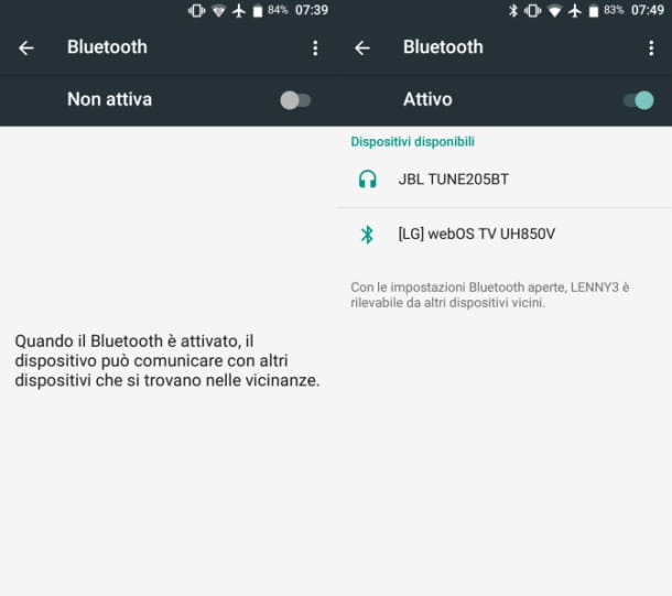 Attivare Bluetooth Android