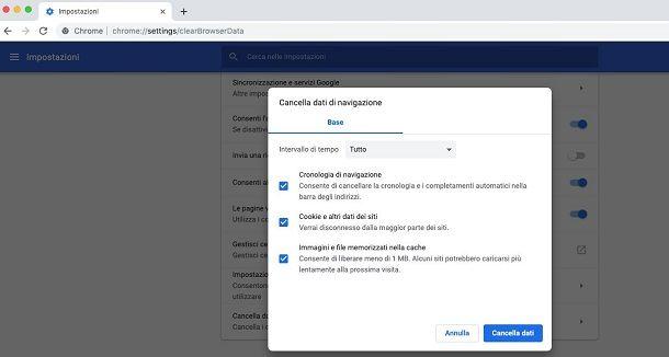 Chrome Mac cancellare cronologia