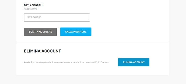 Come cancellare account Epic Games