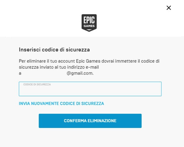 Conferma Eliminazione Account Epic Games