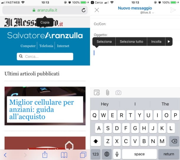 iOS copia incolla