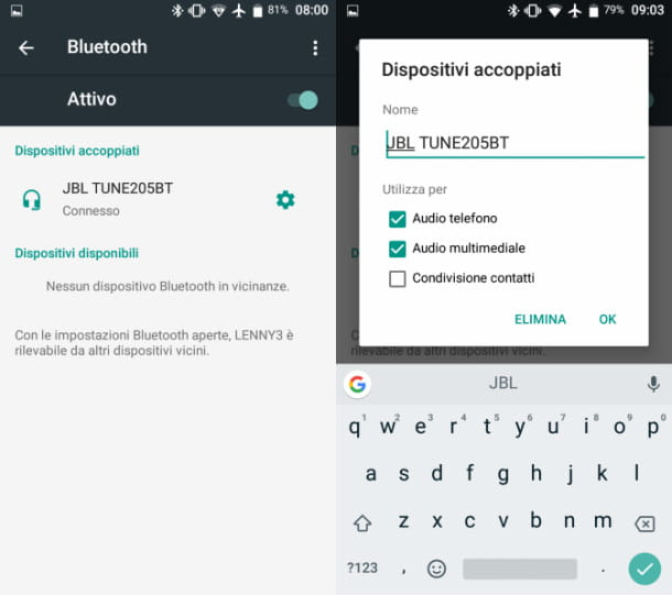 Disassociare Bluetooth Android