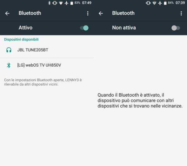 Disattivare Bluetooth Android